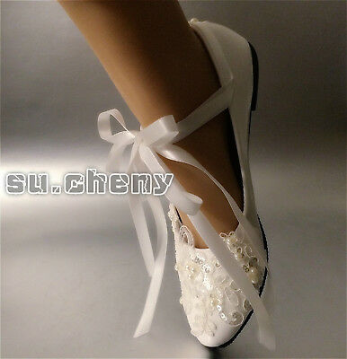40e83f00f74f su.cheny Ivory white lace pearl ribbon anklet flats pumps Wedding Bridal  shoes
