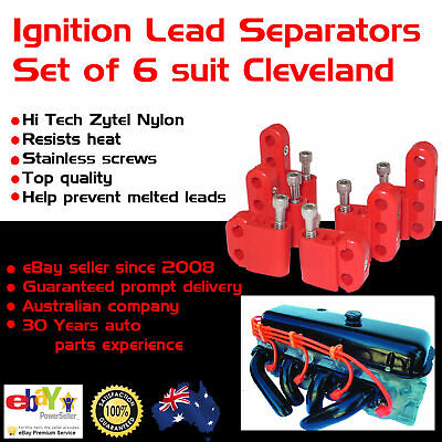 New Cleveland V8 Red Ignition Lead Separators Brackets Mounts Stainless Screws