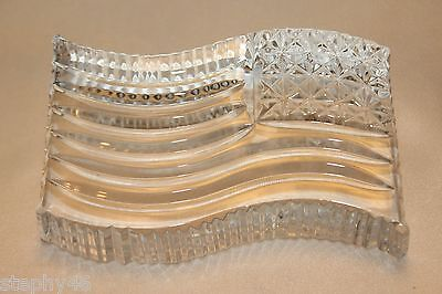 Waterford Clear Crystal American Flag Patriotic Paperweight