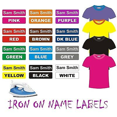IRON ON Clothing Name Labels School Day Care Toddler Aged Care Bag  42pcs 30x9mm