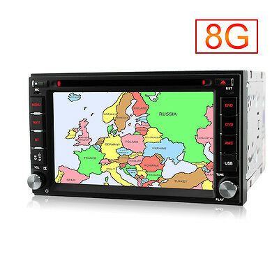 Double 2 Din GPS CD DVD Player sat nav in-car stereo Bluetooth SD USB FM Radio