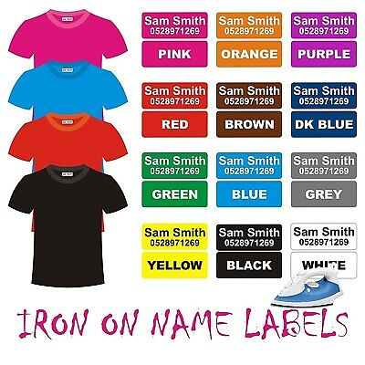 Iron on Name Clothes Labels 30x12 School Sport Uniform 42 Personalised Stickers