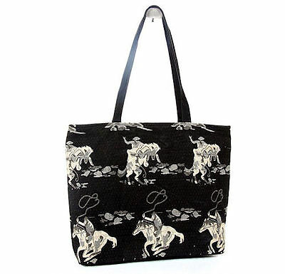 Jaycee Horse & Western Ladies Womens Girls Tapestry Horses Tote Bag - Black