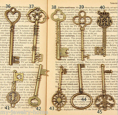 15pcs Antique Vintage Skeleton Key Charms Accessories Pendant Mixed Randomly