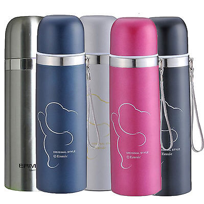 Stainless Steel Water Travel Mug School Thermos Cup Flask Bottle Vacuum Strappy