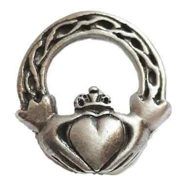 Claddagh Irish Handcrafted From English Pewter Lapel Pin Badge + Gift Bag