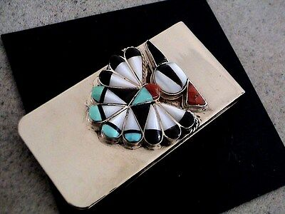 Auth.Native American Indian Zuni Inlay/Sterling Money Clip by Sherry Nastacio