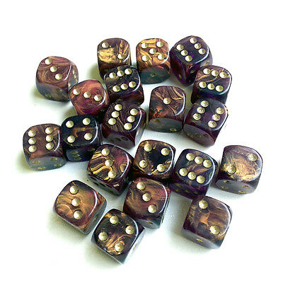 20 x 12mm DICE AMBER GOLD MIST 6 gold spot for Wargames