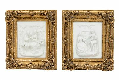 Picture in relief - couple in love lady and gentleman - set of 2