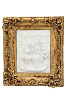 Picture in relief - couple in love lady and gentleman - faux alabaster