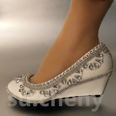 3005dc6d156 su.cheny Ivory white lace flower pearls ankle trap Wedding Bridal flats  shoes