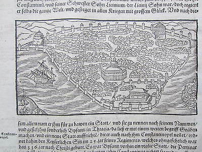 MÜNSTER/MUNSTER: Cosmographia Woodcut Constantinople Istanbul Turkey - 1592