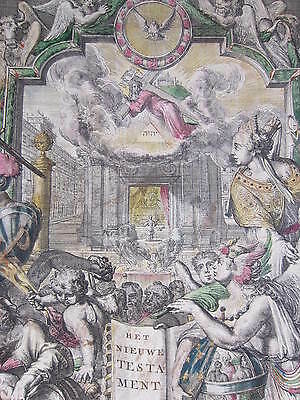 R. de Hooghe: Large Decorative Handcolored Title Page Bible III - 1704