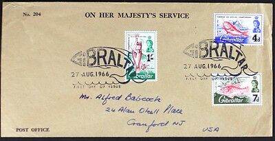 Z626 GIBRALTAR 1966 QEII Fish Definitives, First Day Cover FDC