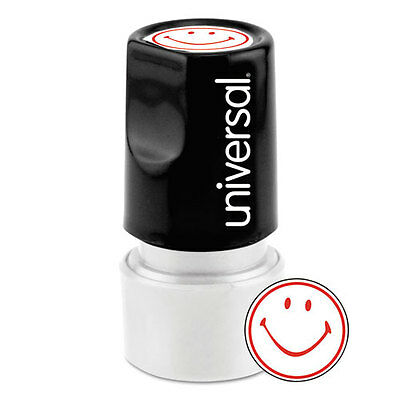 Universal One-Color Round Message Stamp, SMILEY FACE, Pre-Inked/Re-Inkable, Red