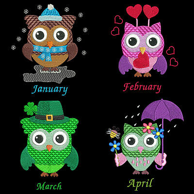 Whooters Of The Month  - 36 Machine Embroidery Designs (Azeb)