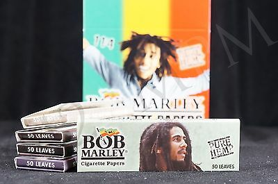 5 Packs Authentic Bob Marley 1 1/4 Size Papers Pure Hemp Natural Gum