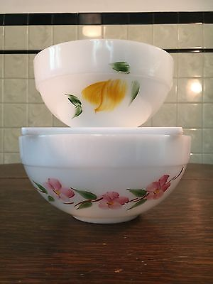VTG Anchor Hocking Fire King Gay Fad Fruit Peach Blossom Milk Glass Mixing Bowls