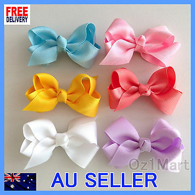 "24 Colors NEW 3"" Hair Clip Alligator Baby Toddler Girl Kids Grosgrain Ribbon Bow"