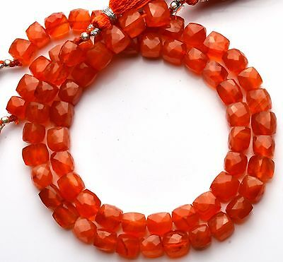 """Natural Gemstone Carnelian Faceted 7-8MM 3D Cube Shape Beads 110Cts. 10"""" Strand"""