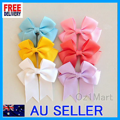 "24 Colors 3"" Hair Clip Alligator Baby Toddler Girls Grosgrain Ribbon Bow Kids"