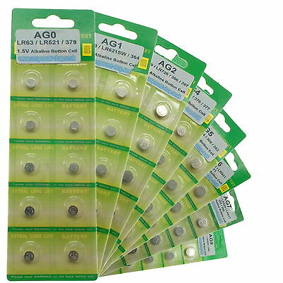1.5v Button Coin Cell Alkaline Watch Calculator Battery All Types AG0 to AG13