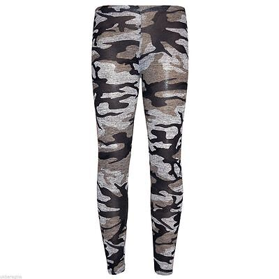 Girls Camo Legging Kids Children Full Length Camouflage Leggings Pant 7-13 Years