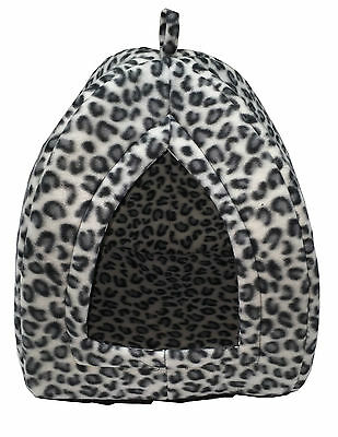 Cat Dog Rabbit Pet Hut Bed Igloo Thermal Soft Warm Fleece Luxury Basket White