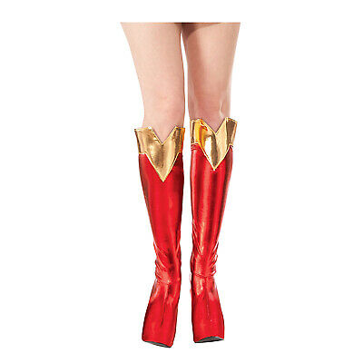 DC Comics Superman SUPERGIRL BOOT TOPS Shoe Covers Adult Costume Red Gold