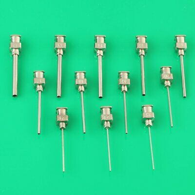 "New Blunt stainless steel dispensing syringe needle tips 1"" 12 pcs 12Ga-23Ga"