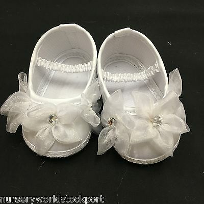 Baby babies soft satin christening baptism GIRLS SHOES white flower diamante