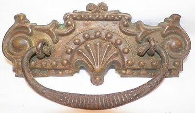 Victorian Pressed Brass Drawer Pull Fan & Scroll Cast Iron Bail Antique Bureau