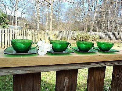 4 Anchor Hocking Charm Forest Green Glass Square Cups Saucers