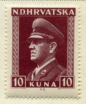 CROATIA;  1943 early WWII Pavelic issue fine Mint hinged 10k. value
