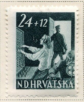 CROATIA;  1945 early Postal Workers Fund issue Mint hinged 24k. value