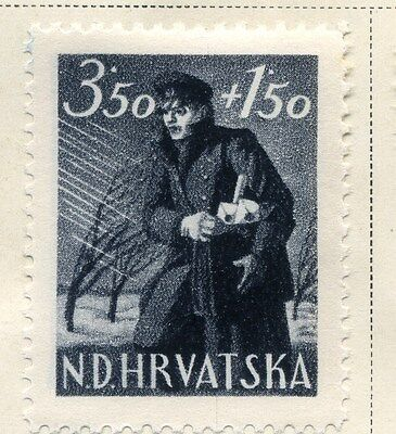 CROATIA;  1945 early Postal Workers Fund issue Mint hinged 3.50k. value