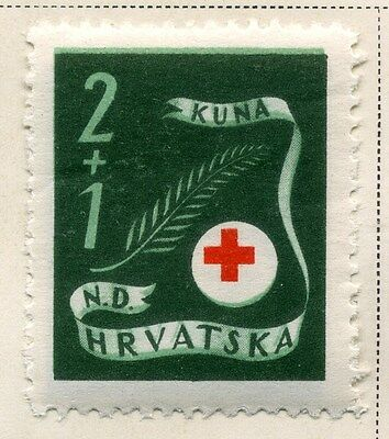 CROATIA;  1944 early Red Cross issue fine Mint hinged 2k. value