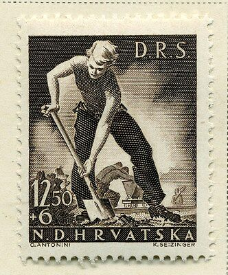 CROATIA;  1944 early Labour Front issue Mint hinged 12.50k. value