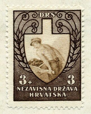 CROATIA;  1943 early WWII Labour Front issue Mint hinged 3k. value