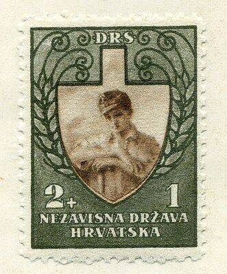 CROATIA;  1943 early WWII Labour Front issue Mint hinged 2k. value