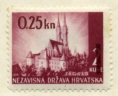 CROATIA;  1941 early WWII issue fine Mint hinged 25b. value