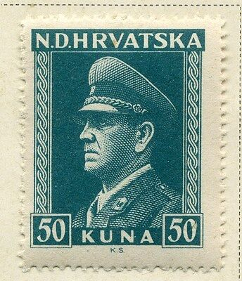 CROATIA;  1943 early WWII Pavelic issue fine Mint hinged 50k. value