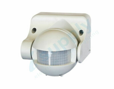 PIR Security Motion Sensor White Outdoor Weather Proof 180 Degree
