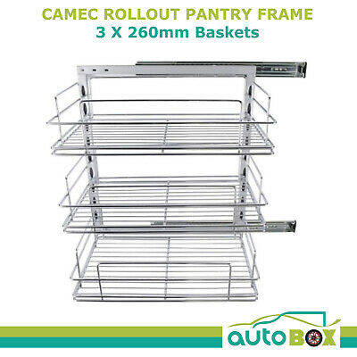 Caravan Rollout Pantry Frame with 3 x 260mm Baskets Motorhome Camper
