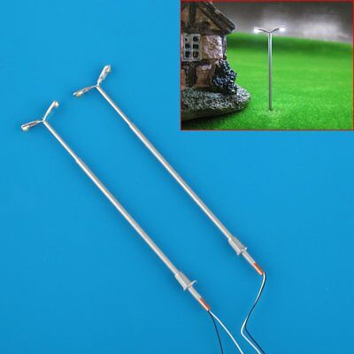10 pcs 1:150 N Scale Double-End LED Street Lights Model Railway Train Lamp Post