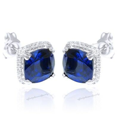 14K White Gold Over Princess Saphire Earrings Stud Solid Women Fashion 7.3ct