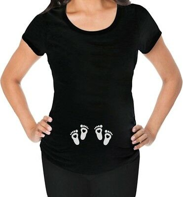 Very Cute Twin Babies Footprints - Twins Pregnancy Maternity Shirt Baby Feet