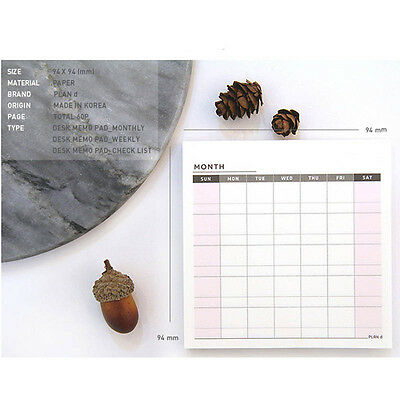 Newest Stylish Weekly Monthly Plan Schedule Memo Check Stick Notes Bookmark Pads