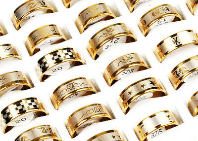 12X Wholesale Lots  fashion Gold Mixed Pattern Men's Stainless Steel Rings Band