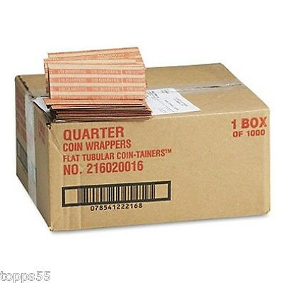 Coin-Tainer Company Pop-Open Flat Paper Quarter Coin Wrappers 1000 ct.  New